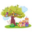 happy birthday animals party vector image vector image