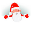 happy santa claus standing above a blank placard vector image