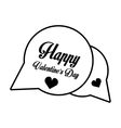 happy valentines day card bubble hearts outline vector image vector image