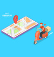 isometric flat concept of delivery by vector image vector image