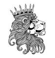 lion crown head black vector image