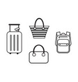 luggage icons in a simple style vector image