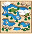map natural landscape lake vector image vector image