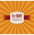 May 1st Labor Day Banner with red Ribbon vector image vector image