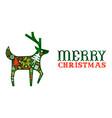 merry christmas retro watercolor folk deer banner vector image vector image