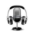 Microphone And Headphones Retro Realistic Image vector image vector image