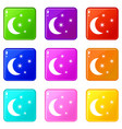 moon and stars icons 9 set vector image vector image