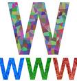 Mosaic font design - letter W vector image vector image