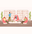 people sit on comfy armchairs with book tablet vector image
