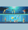people visiting oceanarium parents and their kids vector image vector image