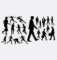 people walking and running silhouette vector image vector image