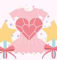 pink ballet tutu magic wand and heart vector image vector image