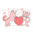 pink cats and love hearts vector image vector image