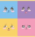 set colorful emoticons emoji faces expression vector image