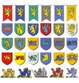 set multicolored vintage heraldic emblems vector image