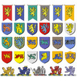 set multicolored vintage heraldic emblems with vector image