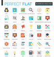 set of flat business analytics icons vector image