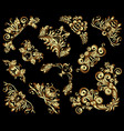 set of gold decorative hand-drawn floral vector image vector image