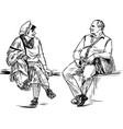sketch couple elderly spouses sitting on park