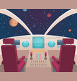 spaceship cockpit shuttle inside interior with vector image vector image