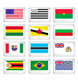 The National Flags on Metal Texture Plates vector image vector image