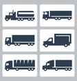 trucks icons set side view vector image vector image