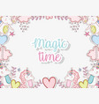 unicorn trendy character with hearts and crowns vector image vector image