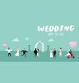 wedding people cartoons bride and groom characters vector image vector image