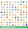 100 happiness icons set isometric 3d style vector image vector image
