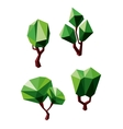 Abstract polygonal green trees icons vector image vector image