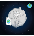 astronaut whit flag on the moon vector image vector image
