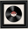 black vinyl record in black frame vector image vector image