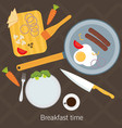 breakfast time fried eggs making process vector image vector image