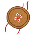brown wooden button on white background vector image