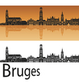 Bruges skyline in orange background vector image vector image