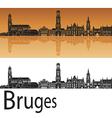 Bruges skyline in orange background vector image vector image