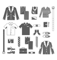 Business Man Clothes Icons Set vector image vector image