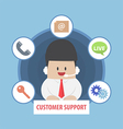 Businessman working with headset in a call centre vector image vector image