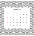 Calendar page for December 2015 vector image vector image