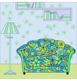 Cartoon funny interior with couch painted blue and vector image vector image