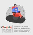 cartoon man watching movie in cinema vector image vector image