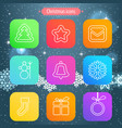 christmas and winter icons collection thin line vector image vector image