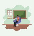 classroom with black teacher reading book in the vector image