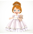 Cute little princess in a magnificent white dress vector image vector image