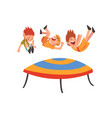 cute smiling boys jumping on trampoline happy vector image vector image