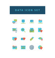 data sharing icon set with colorful modern flat vector image vector image