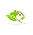 eco friendly green house logo house sustained by vector image vector image