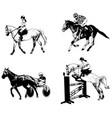 equestrian sports set sketch vector image vector image