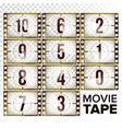 film countdown numbers 10 - 0 monochrome vector image vector image