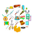 find icons set cartoon style vector image vector image